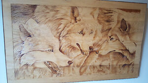 Beautiful Large Wolf Carved Picture on wood
