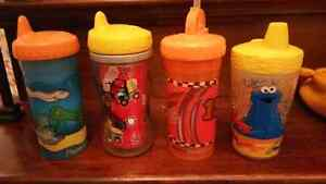 4 Sippies..3 Playtex Insulated plus 1 Sippy Cup