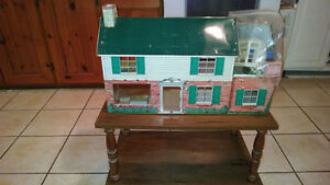 Antique Doll House With Stand And Accessories For Sale