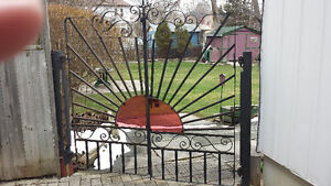 WROUGHT IRON Gate opens in the middle
