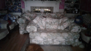 Comfortable sofa, love seat and chair.