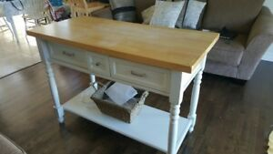 Hardwood butcher block island / matching kitchen table