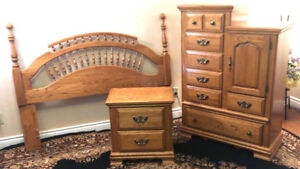 3 Piece Country Oak Double/Queen Bedroom Set SEE VIDEO