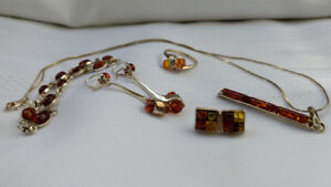 Silver and amber jewelry