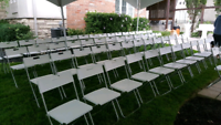 Chairs and tables are available for rent