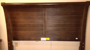 sleigh headboard dark wood