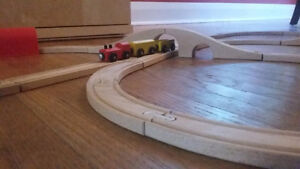 Wooden Train Tracks with trains