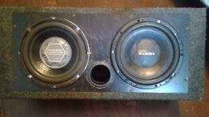 """3 10"""" subs, a jvc deck, and a 10"""" ported box"""
