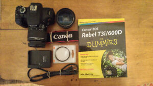 Canon T3i/600D 18MP with Extra Lens, UV filter and book