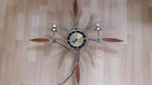 Vintage brass and teak sunburst clock