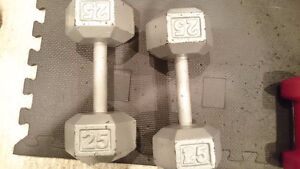 2x 25lb Hex Dumbells (Grey)