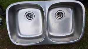 """31"""" Double sink, pipe work and tap set"""