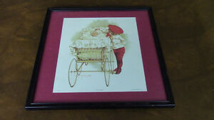 Vintage Framed Nursery Print, Maud Humphrey,1898, First Outing Kitchener / Waterloo Kitchener Area image 1