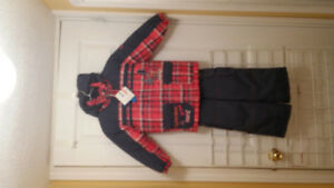 Boy Red and Black Plaid Snow Suit, Size 3/4