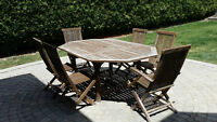 Solid Teak Extendible Patio Table with 6 Chairs