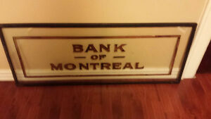 Rare Early 900's Hand Painted Double Paned Bank of Montreal Sign