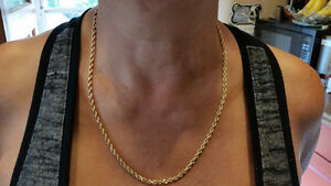 14K ROPE CHAIN WEIGHS 26 GRAMS 22 INCES IN LENGTH  $695.00