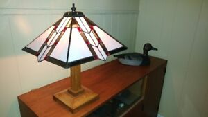 Vintage Custom Made Stained Glass Table Lamp