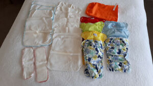 Apple Cheeks Cloth Diapers, cotton inserts & storage bag