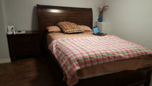 queen bed and mattress set like new