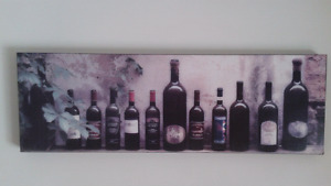 Wine bottle picture and metal apple picture and metal butterfly