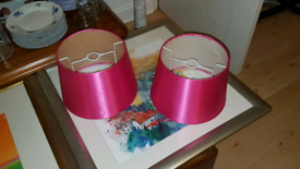 50p each.Small Silky Hot pink lampshades