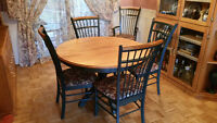 "Solid Birch Dining Table with 6 chairs - 48"" round"