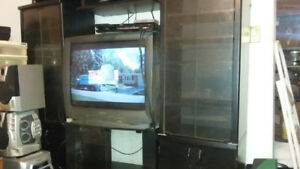 entertainment center and t.v.