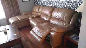 11 ft long Cindy Crawford Leather Couch/ reliner