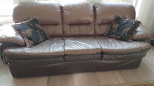 Leather sofa, love-seat, chair