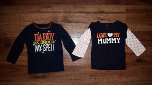 Two 6  Month Carter's Girls Halloween Shirts New $6 Firm