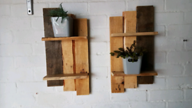 A pair of reclaimed shelves