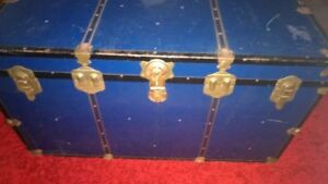 Steamer Trunk - Blue & Little Brass with Original Key