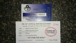 LHHS mens hockey season tickets and  annual dinner and auction