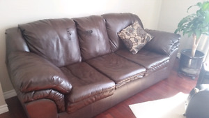 Brown pleather couch - needs to go asap