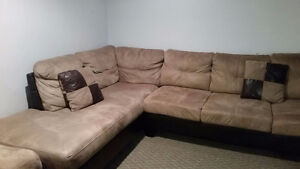 Leather Suede Sectional Sofa