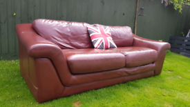 FREE - M&S Soft Brown Leather Sofa / Settee