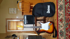 UniVox electric guitar carrying case and amp