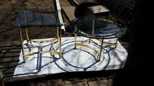 Brass Coffee & End Table w/ Single Bevel Tempered Glass $78 EACH