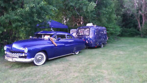 1951 Mercury custom antique with a 1974 modified Boler trailer