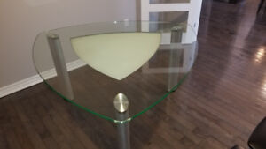 Sturdy Solid Glass Dining Table for 6 People