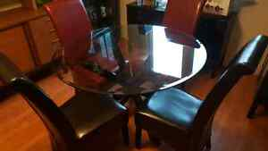 Glass top kitchen table high back chairs