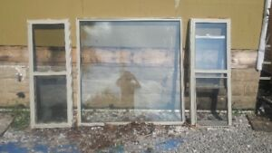 3 good used matching windows for sale with screens