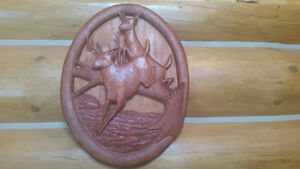 "COMMISSIONED PIECE ""THE WHITETAILS"" WOOD CARVING"