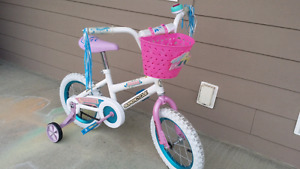 """Supercycle 14"""" girls bike with training wheels and accessories"""