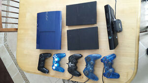 2 consoles PS2, 1 console PS3 slim, Kinect Xbox, et manet (LOT)