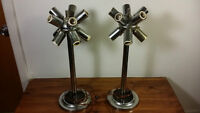 Vintage stainless steel atomic pair lamps - 2 pour 65$
