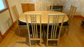 6 seater dining table & chairs.