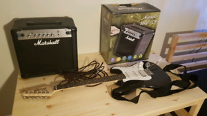 Fender Squier and Marshall amp