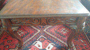 Two antique-style coffee tables mahogany brown